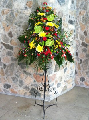 Pedestal flower arrangements gallery images yellow red and green virbrant code jgf2105yrgv mightylinksfo
