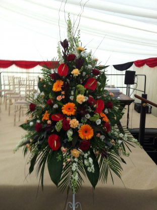 Pedestal flower arrangements gallery images orange red white 3 ped code jgf9856orw mightylinksfo