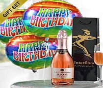A delicious bubbly Sparkling Ros� Wine with three fun Happy Birthday Balloons Code: JGF18SRWHB