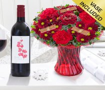 Christmas Wish Vase with a Medium bodied Merlot Red Wine Code: JGFX90044CWRW | Local Delivery Or Collect From Shop Only