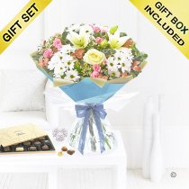 Winter Frost Flower Hand-tied with a box of Luxury Chocolates Code: JGFX965431C | Local Delivery Or Collect From Shop Only