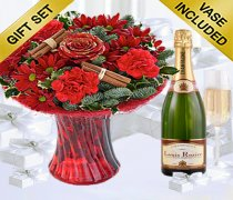 Christmas Flower Perfect Gift with a delicious bottle of bubbly Champagne Code: JGFX80041RS3C
