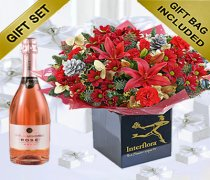 Flower Christmas Cracker Hand-tied with a delicious bottle of Sparkling Rosé Wine Code: JGFX751SPRW