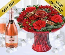 Christmas Flower Perfect Gift with a delicious bottle of Sparkling Rosé Wine  Code: X80040RS4SRW