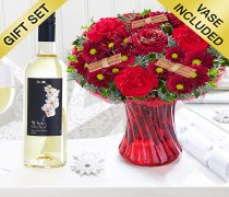 Christmas Wish Vase with a delicious Sauvignon Blanc White Wine Code: JGFX90044CWWW  | Local Delivery Or Collect From Shop Only
