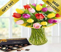 Mixed Tulip Vase with Hand-Made Chocolates Code: JGFS421TPGC | Local Delivery Only