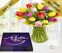 Mixed Tulip Vase with 360g Box of Milk Tray Chocolates Code: JGFS30420MT | Local Delivery Only