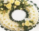 Traditional Green and White Massed Wreath Code: JGFF480GWW  | Local Delivery Or Collect From Shop Only