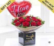 Dramatic Valentine Dozen Roses with a Fun filled Helium I Love You Heart Balloon Code: V41461RB