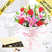Valentine Rose and Lily Hand-tied with Luxury Belgian Chocolates Code: JGFV20072RLC  | Local Delivery Or Collect From Shop Only