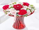 Red Love Vase with Luxury Chocolates and a Fun filled Helium Heart Balloon Code: JGFV4040LHBC  | Local Delivery Or Collect From Shop Only
