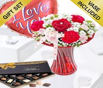 Red Love Vase with Luxury Chocolates and a Fun filled Helium Heart Balloon Code: JGFV4040LHBC Local Delivery Only