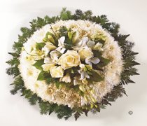 Traditional White Massed Posy White and Green Code: JGFF99320WPP | Local Delivery Or Collect From Shop Only