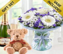 Baby Boy Azure Vase with a delicious bottle of bubbly Champagne and a super soft Bramble Teddy Bear Code: JGFA928871BVCHT   Local Delivery Only