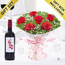 Six Hugs and Kisses with a Medium Bodied Merlot Red Wine Code: JGFV76201RW | Local Delivery Or Collect From Shop Only