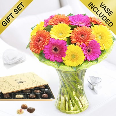 Germini Cheer Vase with a box of Luxury Chocolates  Code: JGFG00280GCC | Local Delivery Only / Collection in Shop Only