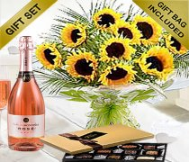 Luxury Sunflower Hand-tied With Luxury Chocolates and a lovely delicious bottle of Sparkling Rosé Wine  Code: JGFS654HTSRWC | Local Delivery Only