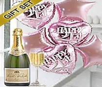 21st Birthday Balloon Bouquet with a lovely delicious bottle of bubbly Roualet Desbordes Champagne Code JFG1812C