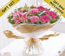 Pink Radiance Hand-tied with a box of Luxury Chocolates Code: C01011PB