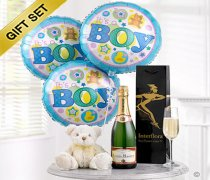 Baby Boy Celebratory Champagne, Balloons and a cuddly Teddy Bear  Code: B10120ZS