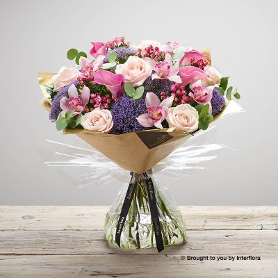 Luxury Lily and Orchid Blush Pink Hand-tied : Code: L20981PS