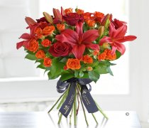 Luxury Red Rose and Lily Hand-tied Code: L20561OS