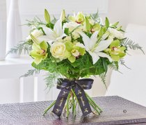 Luxury Cymbidium Orchid and Lily Hand-tied Code: L20931WS