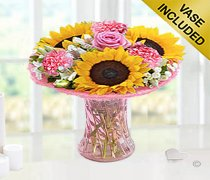 Sunflower Blush Vase  Code: JGFS5458SFPP  | Local Delivery Only