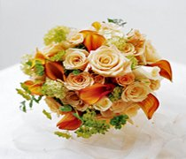 Sweet Peach Rose & Calla Lily Bridal Bouquet  Code: W2000