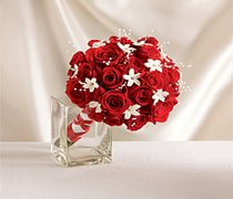Dazzling Red Rose & Stephanotis Scented Bridal Bouquet Code: W1900