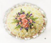 Traditional White Massed Posy White and Pink Code: JGFF730PWBW | Local Delivery Or Collect From Shop Only