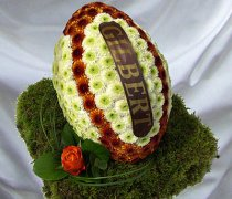 Rugby Ball Funeral Flowers 3D Orange & White  Code: JGF9845OW