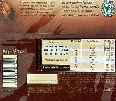 Galaxy Milk Chocolate Family Share Bar 390g Bar Code