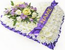 Lavender and White Bassed Heart With Name On Ribbon Code: JGF410210WLN | Local Delivery Or Collect From Shop Only