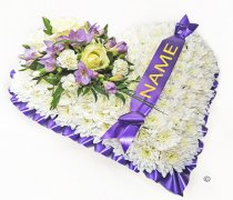 White & Lavender Bassed Heart With Name On Ribbon Code: JGF410214WLN