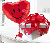 Red Heart Smiley Naughty Face With Kiss Balloon in a Box Code: JGF74636HKB