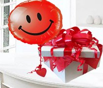 Red Smiley Face Balloon in a Box Code: JGF74536RSFB