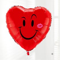 Naughty Smiley Face With Kiss Helium-filled Red Heart Balloon Code: JGF78495HKB (Local Delivery Only)
