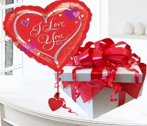 I Love You Red Heart Helium Balloon in a box Code:99856ILHB