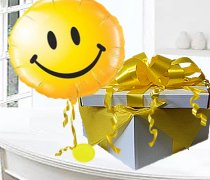 Yellow Smiley Face balloon in a box Code:JGF6568YSBB