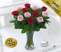 Elegant Red and Pink Rose Vase Code: JGFV40101MS  Local Delivery Only