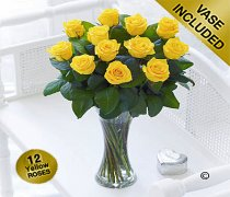 Elegant Yellow Rose Vase Code: JGFV40101YS   Local Delivery Only