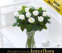 Elegant Ivory Rose Vase Code: JGFV40101IS  Local Delivery Only