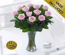 Elegant Pink Rose Vase Code: JGFV40101PS   Local Delivery Only