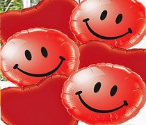 Smiley Face And Red Heart Balloon Bouquet Code:JGF14RSFRB