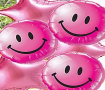 Pink Smiley Face & Star Balloon Bouquet Code: JGF12PSFB