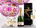 Celebratory Champagne, Baby Girl Balloons and a Cuddly Teddy Bear Code: B10100ZS