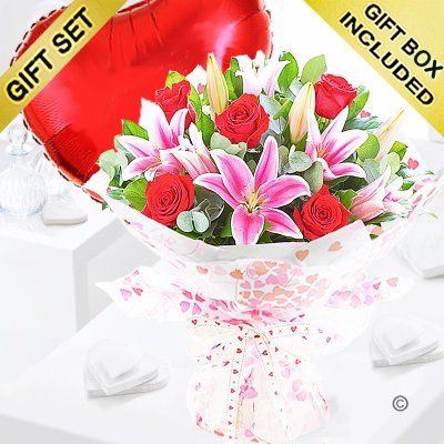 Rose and Lily Hand-tied with a Red Plain Heart Balloon Code: JGF20072RLRHB | Local Delivery Or Collect From Shop Only