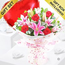 Rose and Lily Hand-tied with a Red Plain Heart Balloon Code: JGFV20072RLRHB | Local Delivery Or Collect From Shop Only
