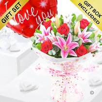 Rose and Lily Hand-tied With A I Love You Red Heart Balloon Code: JGFV20072RLILYB | Local Delivery Or Collect From Shop Only